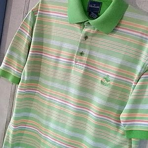 Faconnable Pastel Green Striped Polo Shirt Size M